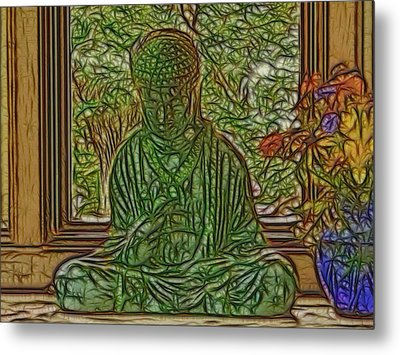 Buddha In Window With Blue Vase Metal Print