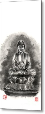 Buddha Buddhist Sumi-e Tibetan Calligraphy Original Ink Painting Artwork Metal Print