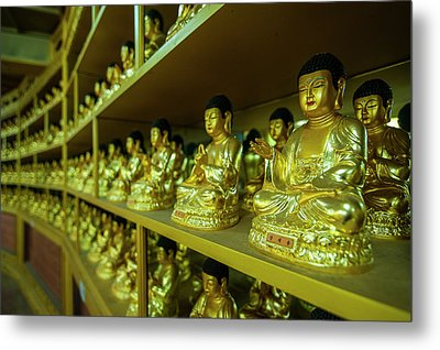 Buddha Collection Underneath The Golden Metal Print by Michael Runkel