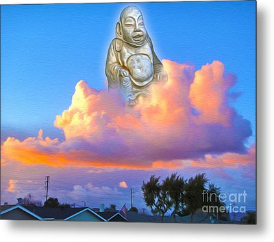 Metal Print featuring the painting Buddha In The Clouds Of Suburbia by Gregory Dyer