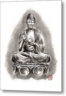 Buddha Medicine Buddhist Sumi-e Tibetan Calligraphy Original Ink Painting Artwork Metal Print by Mariusz Szmerdt