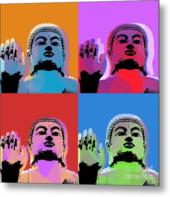Buddha Pop Art - 4 Panels Metal Print