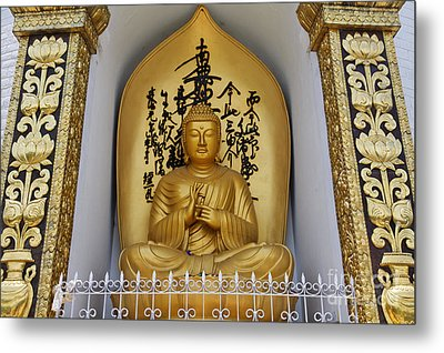 Buddha Statue At The World Peace Pagoda Pokhara Metal Print by Robert Preston