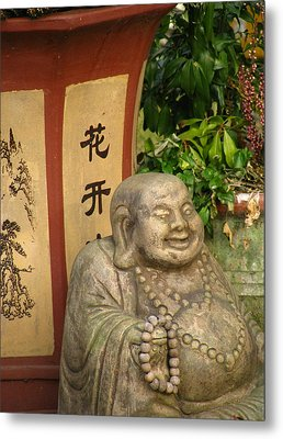 Buddha Statue In The Garden Metal Print