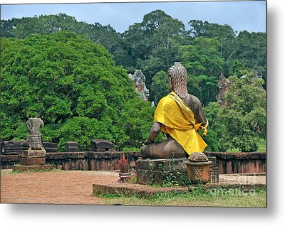Buddha Statue Wearing A Yellow Sash Metal Print by Sami Sarkis