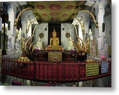Buddha Statues In Sri Dalada Maligawa Metal Print by Panoramic Images
