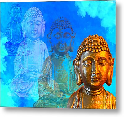Metal Print featuring the sculpture Buddha's Thoughts by Ginny Gaura