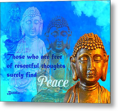 Buddha's Thoughts Of Peace Metal Print by Ginny Gaura