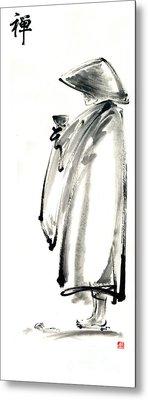 Buddhist Monk With A Bowl Zen Calligraphy Original Ink Painting Artwork Metal Print by Mariusz Szmerdt