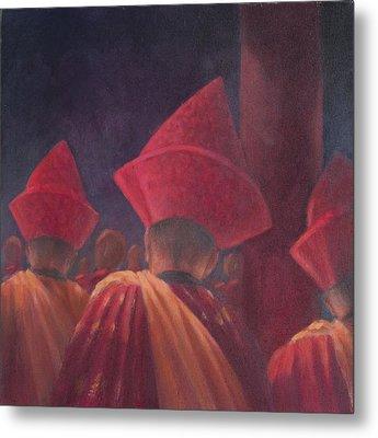 Buddhist Monks, Bhutan, 2012 Acrylic On Canvas Metal Print by Lincoln Seligman