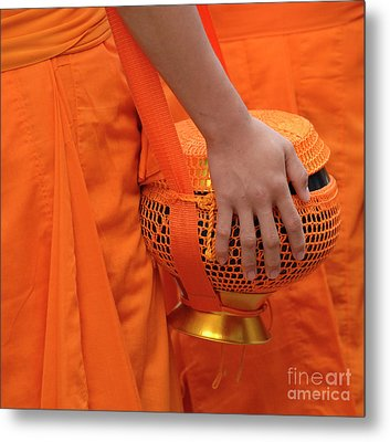Buddhist Monks Hand Metal Print by Bob Christopher