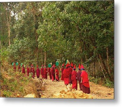 Buddhist Monks In A Losar Ceremonial Metal Print by Jaina Mishra