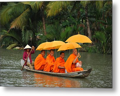 Buddhist Monks In Mekong River Metal Print by Dung Ma