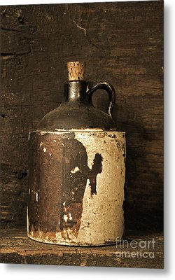 Buddy Bear Moonshine Jug Metal Print by John Stephens