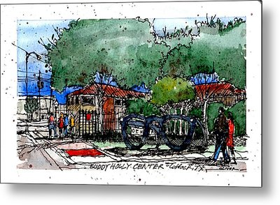 Metal Print featuring the mixed media Buddy Holly Center by Tim Oliver