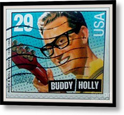 Buddy Holly Postage Stamp Usa Metal Print by Gail Matthews