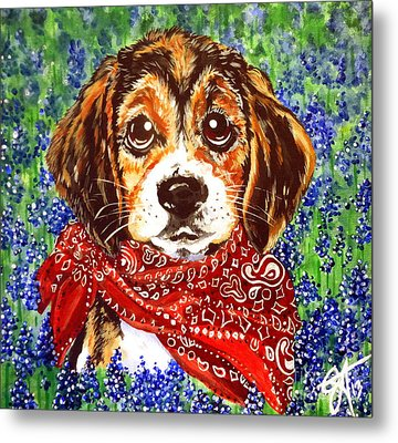 Buddy Dog Beagle Puppy Western Wildflowers Basset Hound  Metal Print
