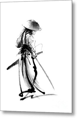 Samurai With A Sword. Ronin - Lone Wolf. Metal Print by Mariusz Szmerdt