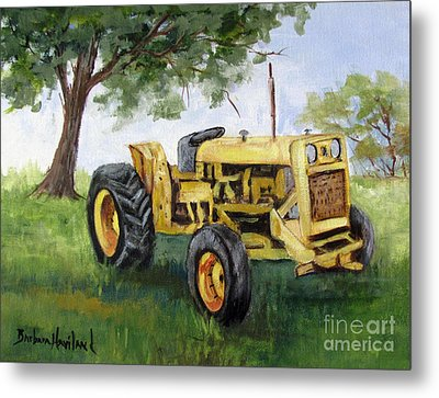 Bud's Yellow Tractor Metal Print