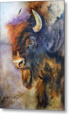 Metal Print featuring the painting Buffalo Business by Karen Kennedy Chatham