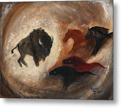 Metal Print featuring the painting Buffalo Dream by Barbie Batson