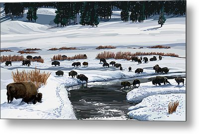 Buffalo Ford Winter Metal Print