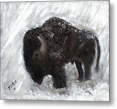 Metal Print featuring the painting Buffalo In The Snow by Barbie Batson
