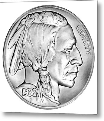 Buffalo Nickel Metal Print by Greg Joens