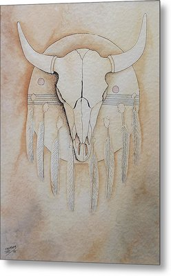 Metal Print featuring the painting Buffalo Shield by Richard Faulkner