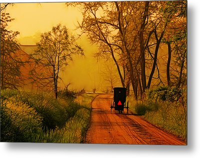 Buggy On A Sunday Morning Drive Batik Metal Print by Laura James