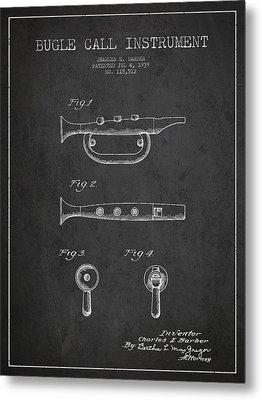 Bugle Call Instrument Patent Drawing From 1939 - Dark Metal Print