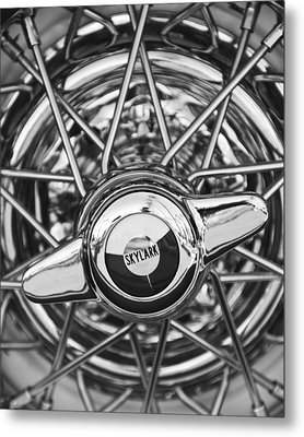 Buick Skylark Wheel Black And White Metal Print by Jill Reger