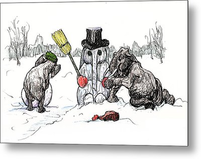 Building A Snow Elephant Metal Print by Donna Tucker