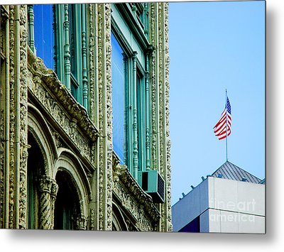 Metal Print featuring the photograph Building And Flag by Michael Edwards