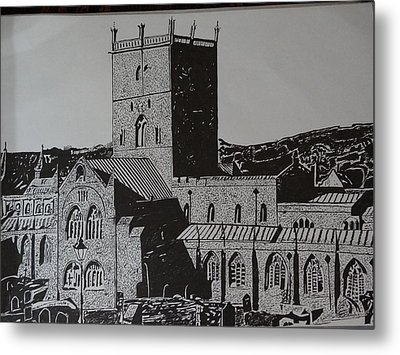 Building Pen Art Metal Print by Saisreeja Bandaru