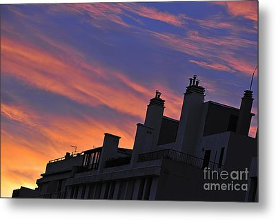 Building Silhouette By Cloudscape At Sunrise Metal Print