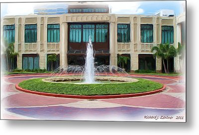 Metal Print featuring the digital art Building With Fountain Painting by Richard Zentner