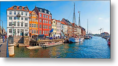 Buildings Along A Canal With Boats Metal Print by Panoramic Images