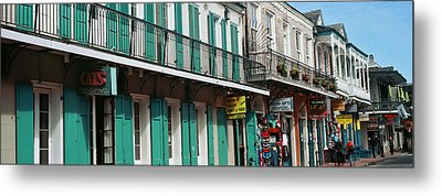 Buildings Along The Bourbon Street Metal Print by Panoramic Images