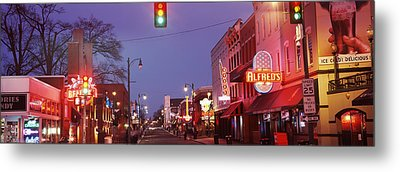 Buildings Along The Street Lit Metal Print by Panoramic Images