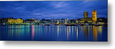 Buildings At The Waterfront, City Hall Metal Print by Panoramic Images