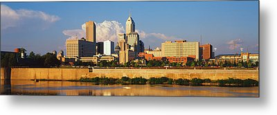 Buildings At The Waterfront, White Metal Print