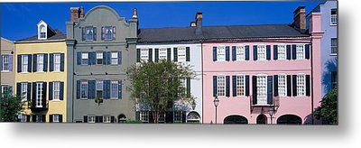 Buildings In A City, Rainbow Row Metal Print by Panoramic Images