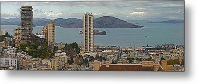 Buildings In A City With Alcatraz Metal Print