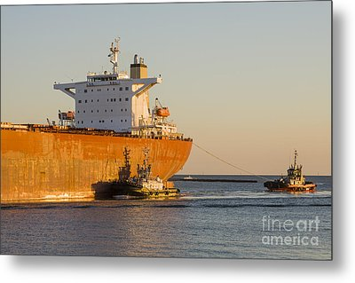 Bulk Carrier Being Guided By Tugs Close Up On Bridge Metal Print by Colin and Linda McKie