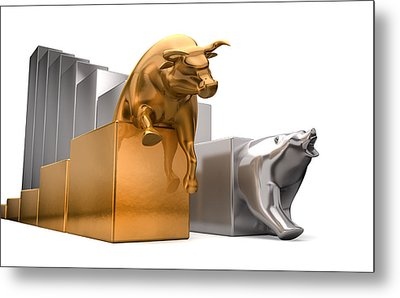 Bull And Bear Economic Trends Metal Print by Allan Swart