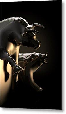 Bull And Bear Stock Market Statues Metal Print by Allan Swart