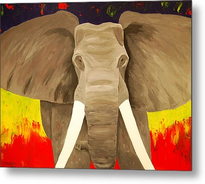 Bull Elephant Prime Colors Metal Print