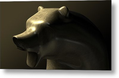 Bull Market Bronze Casting Contrast Metal Print by Allan Swart