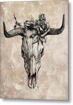 Bull Skull And Rose Metal Print by Emerico Imre Toth